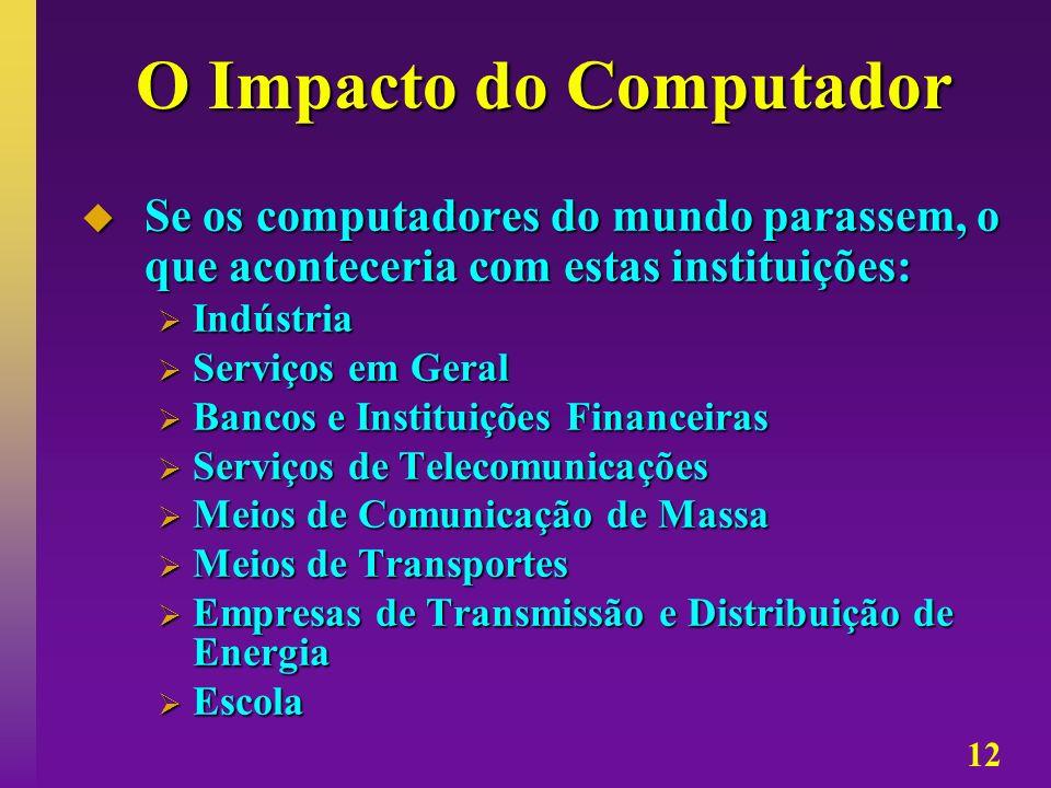 12 O Impacto do Computador Se os computadores do mundo parassem, o que aconteceria com estas instituições: Se os computadores do mundo parassem, o que
