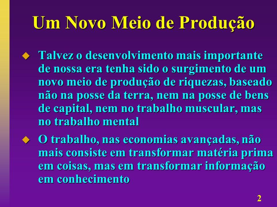 2 Um Novo Meio de Produção Talvez o desenvolvimento mais importante de nossa era tenha sido o surgimento de um novo meio de produção de riquezas, base
