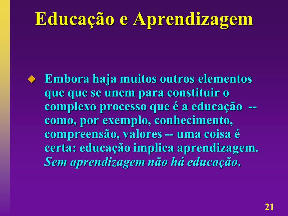 21 Educação e Aprendizagem Embora haja muitos outros elementos que que se unem para constituir o complexo processo que é a educação -- como, por exemp