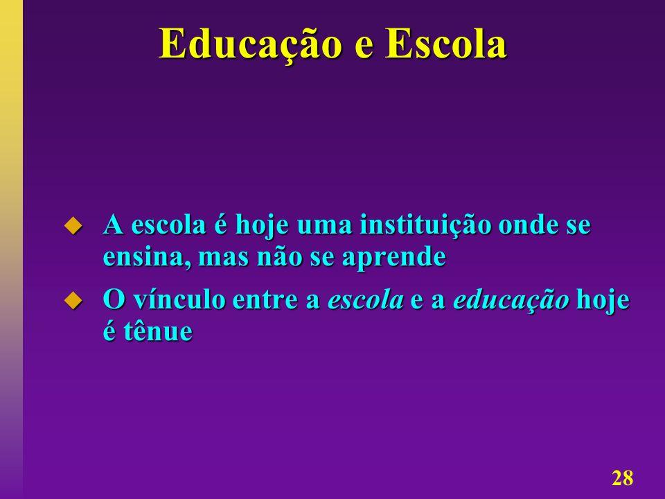 28 Educação e Escola A escola é hoje uma instituição onde se ensina, mas não se aprende A escola é hoje uma instituição onde se ensina, mas não se apr