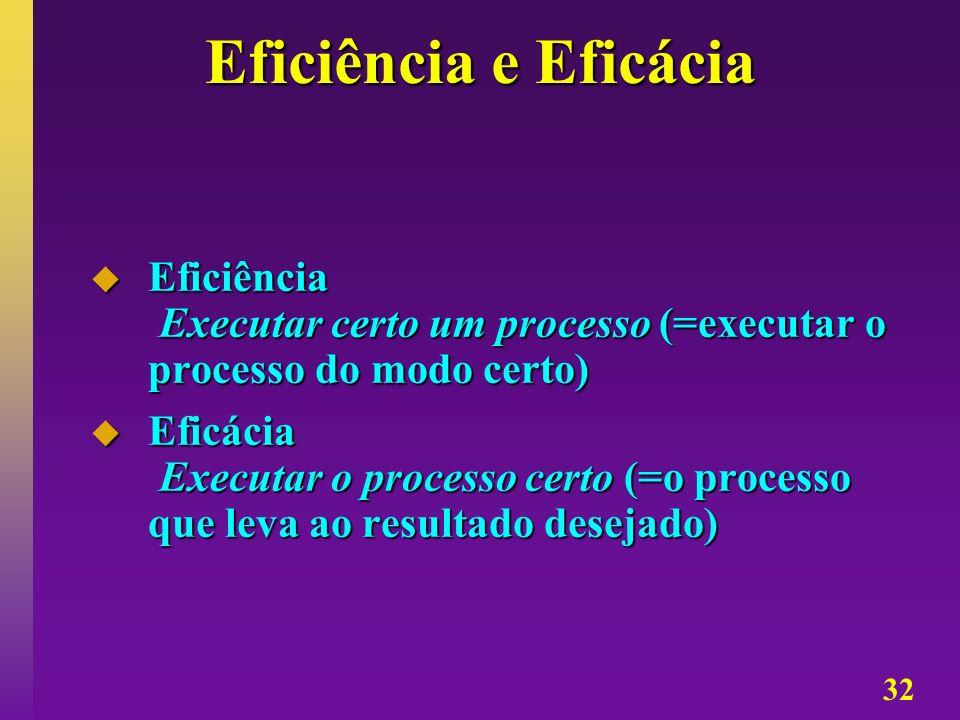 32 Eficiência e Eficácia Eficiência Executar certo um processo (=executar o processo do modo certo) Eficiência Executar certo um processo (=executar o