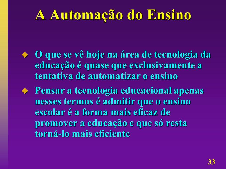 33 A Automação do Ensino O que se vê hoje na área de tecnologia da educação é quase que exclusivamente a tentativa de automatizar o ensino O que se vê
