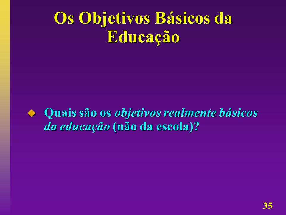 35 Os Objetivos Básicos da Educação Quais são os objetivos realmente básicos da educação (não da escola)? Quais são os objetivos realmente básicos da