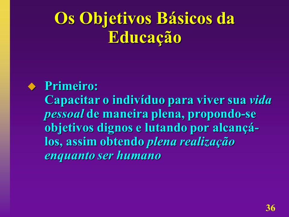 36 Os Objetivos Básicos da Educação Primeiro: Capacitar o indivíduo para viver sua vida pessoal de maneira plena, propondo-se objetivos dignos e lutan
