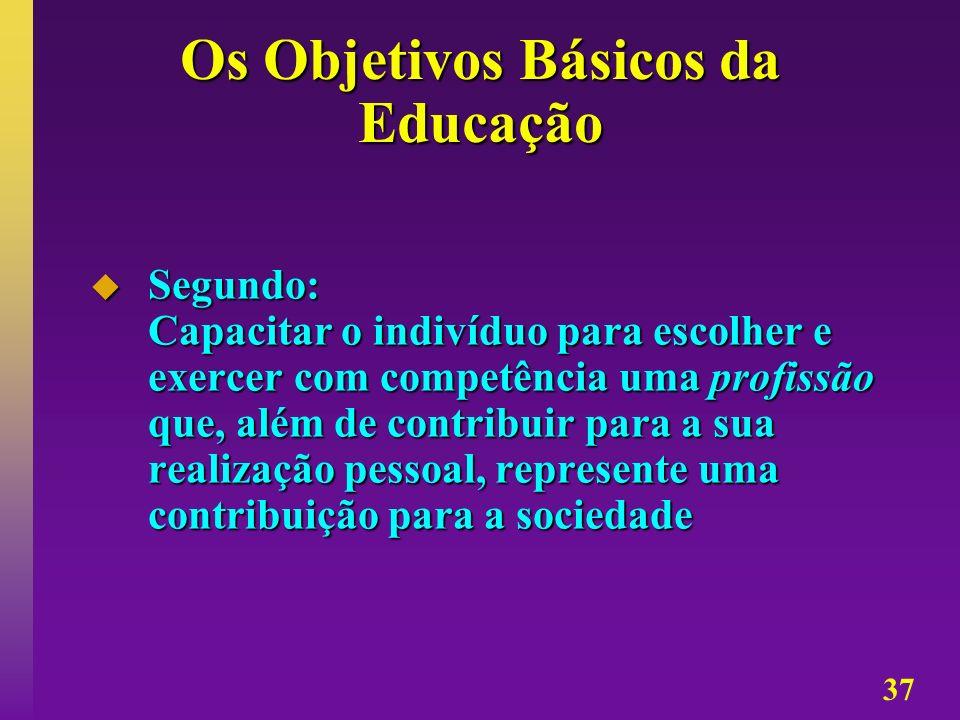 37 Os Objetivos Básicos da Educação Segundo: Capacitar o indivíduo para escolher e exercer com competência uma profissão que, além de contribuir para