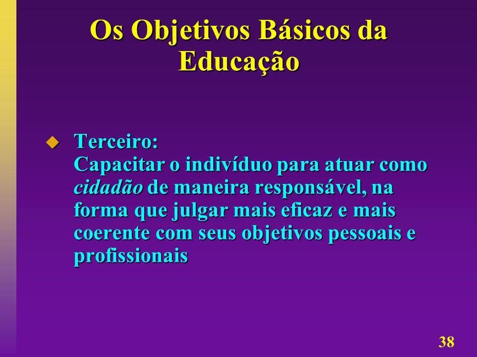 38 Os Objetivos Básicos da Educação Terceiro: Capacitar o indivíduo para atuar como cidadão de maneira responsável, na forma que julgar mais eficaz e