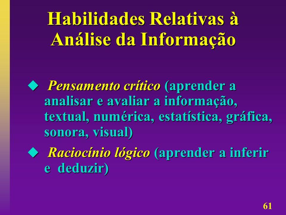 61 Habilidades Relativas à Análise da Informação Pensamento crítico (aprender a analisar e avaliar a informação, textual, numérica, estatística, gráfi