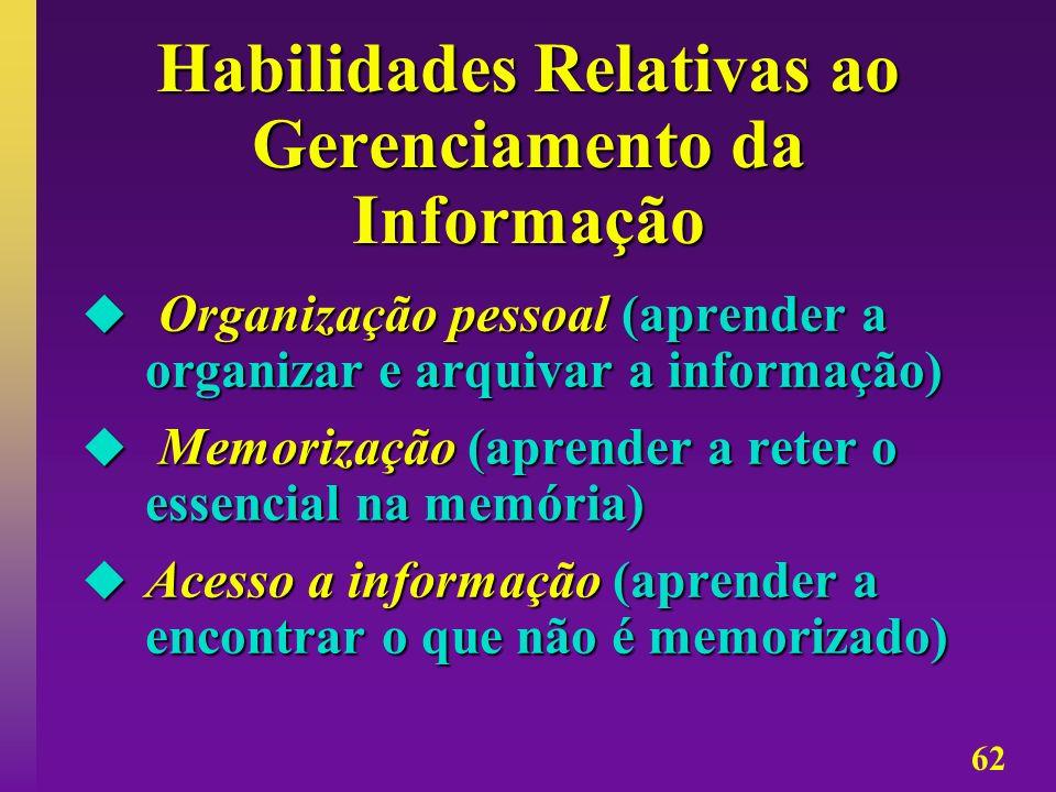 62 Habilidades Relativas ao Gerenciamento da Informação Organização pessoal (aprender a organizar e arquivar a informação) Organização pessoal (aprend
