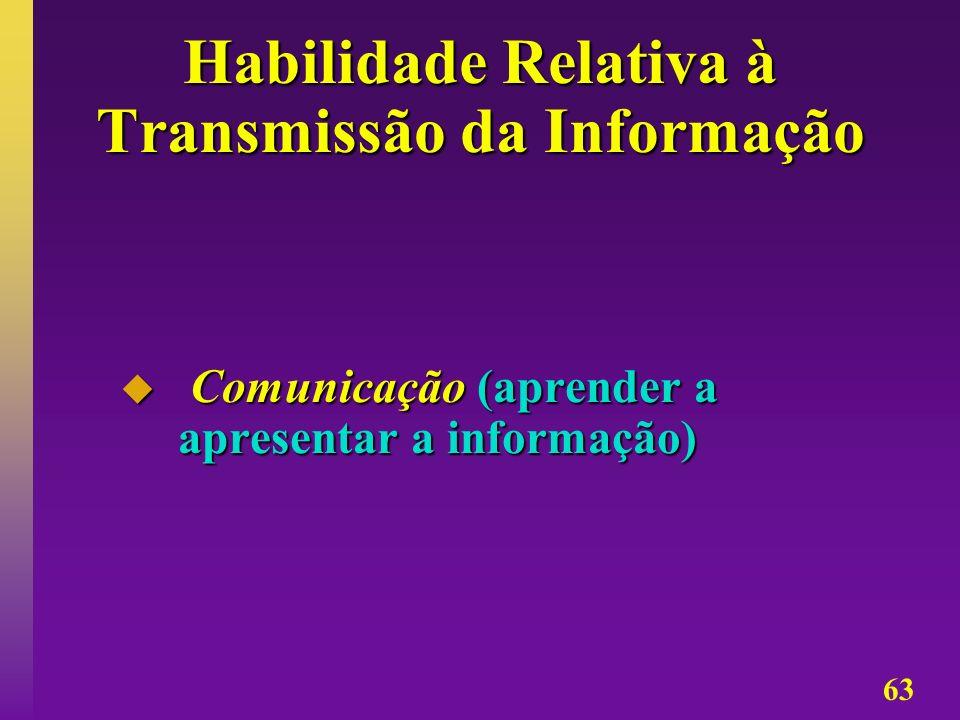 63 Habilidade Relativa à Transmissão da Informação Comunicação (aprender a apresentar a informação) Comunicação (aprender a apresentar a informação)