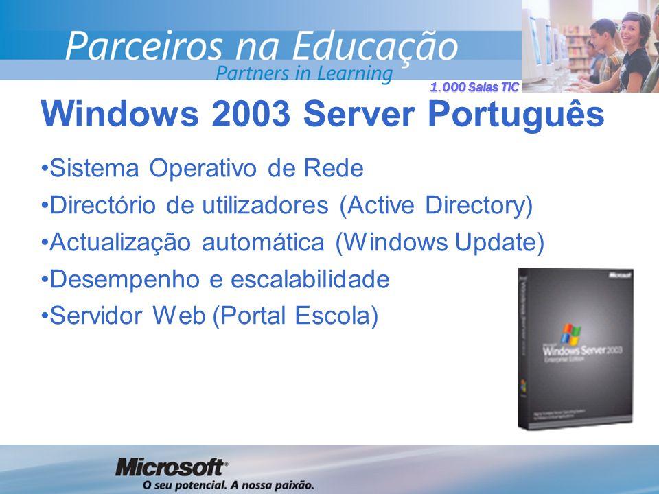 1.000 Salas TIC Sistema Operativo de Rede Directório de utilizadores (Active Directory) Actualização automática (Windows Update) Desempenho e escalabilidade Servidor Web (Portal Escola) Windows 2003 Server Português