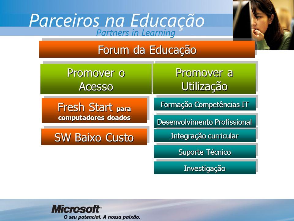 SW Baixo Custo Fresh Start para computadores doados Promover o Acesso Acesso Promover a Utilização Forum da Educação Formação Competências IT Desenvolvimento Profissional Integração curricular Suporte Técnico InvestigaçãoInvestigação
