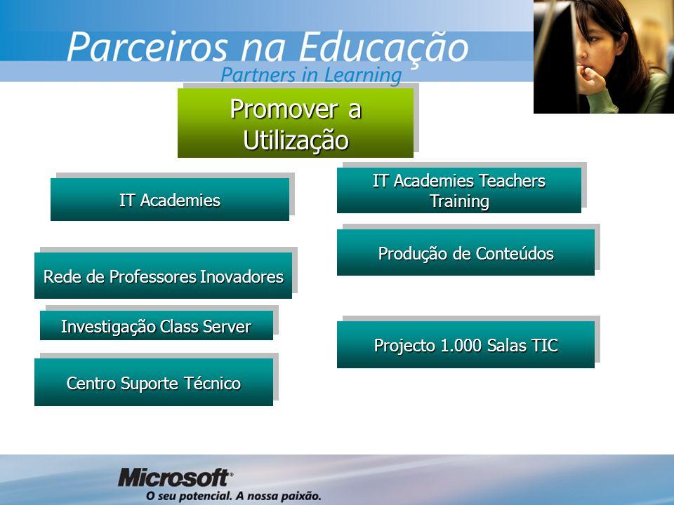 Promover a Utilização IT Academies Rede de Professores Inovadores Investigação Class Server Centro Suporte Técnico Projecto 1.000 Salas TIC IT Academies Teachers Training Produção de Conteúdos