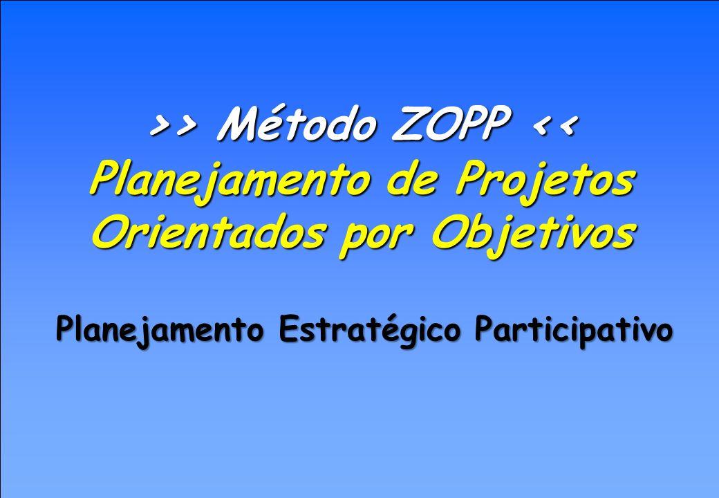 Significado da Sigla ZOPP Z- ZIEL ====> OBJETIVOS O- ORIENTIERTE ====> ORIENTADO P- PROJEKT ====> PROJETO P- PLANUNG ====> PLANEJAMENTO ou seja: Planejamento de projeto orientado por objetivos