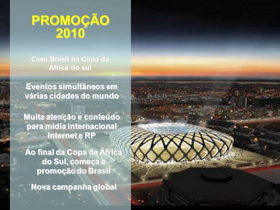 Casa Brasil na Copa da África do sul PROMOÇÃO2010 Eventos simultâneos em várias cidades do mundo Muita atenção e conteúdo para mídia internacional Internet e RP Ao final da Copa da África do Sul, começa a promoção do Brasil Nova campanha global