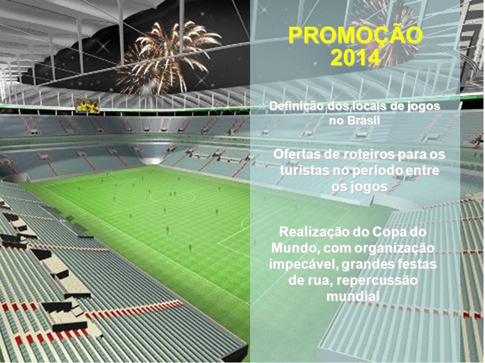 Definição dos locais de jogos no Brasil PROMOÇÃO2014 Ofertas de roteiros para os turistas no período entre os jogos Realização do Copa do Mundo, com organização impecável, grandes festas de rua, repercussão mundial