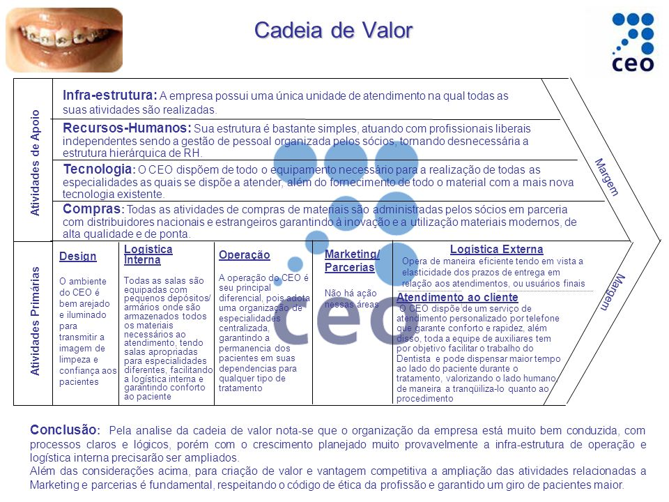 Operação A operação do CEO é seu principal diferencial, pois adota uma organização de especialidades centralizada, garantindo a permanencia dos pacien