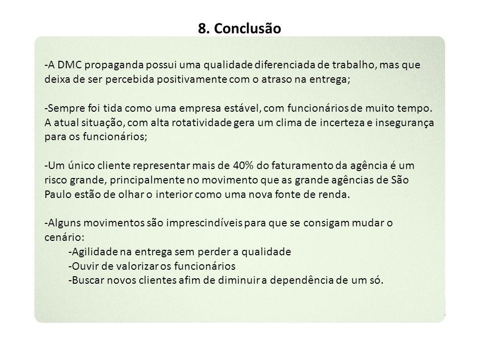 8. Conclusão -A DMC propaganda possui uma qualidade diferenciada de trabalho, mas que deixa de ser percebida positivamente com o atraso na entrega; -S