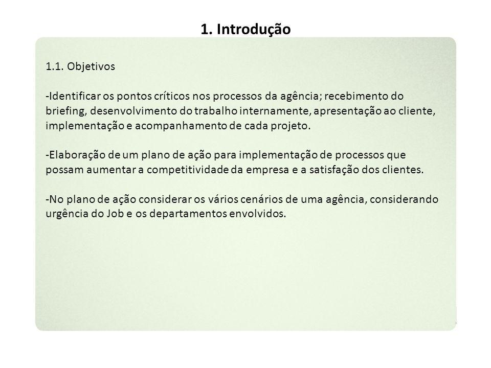 1. Introdução 1.1. Objetivos -Identificar os pontos críticos nos processos da agência; recebimento do briefing, desenvolvimento do trabalho internamen