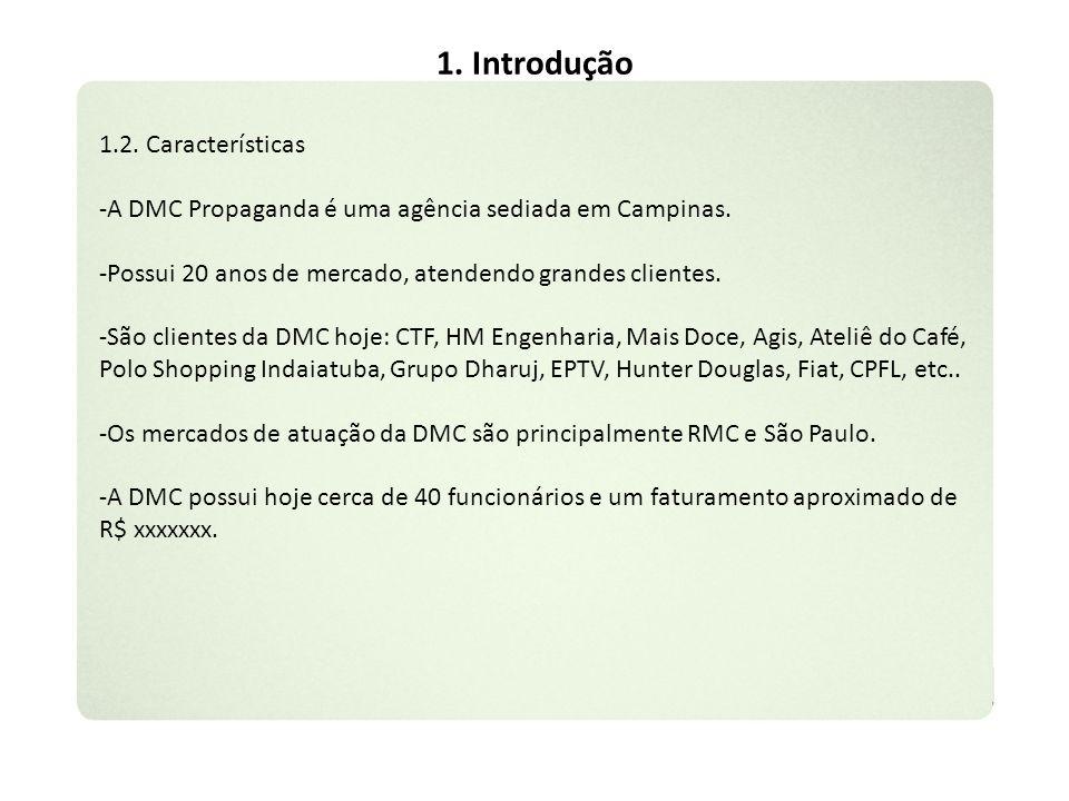 1. Introdução 1.2. Características -A DMC Propaganda é uma agência sediada em Campinas. -Possui 20 anos de mercado, atendendo grandes clientes. -São c