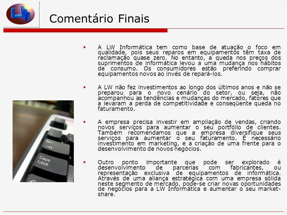 Comentário Finais A LW Informática tem como base de atuação o foco em qualidade, pois seus reparos em equipamentos têm taxa de reclamação quase zero.