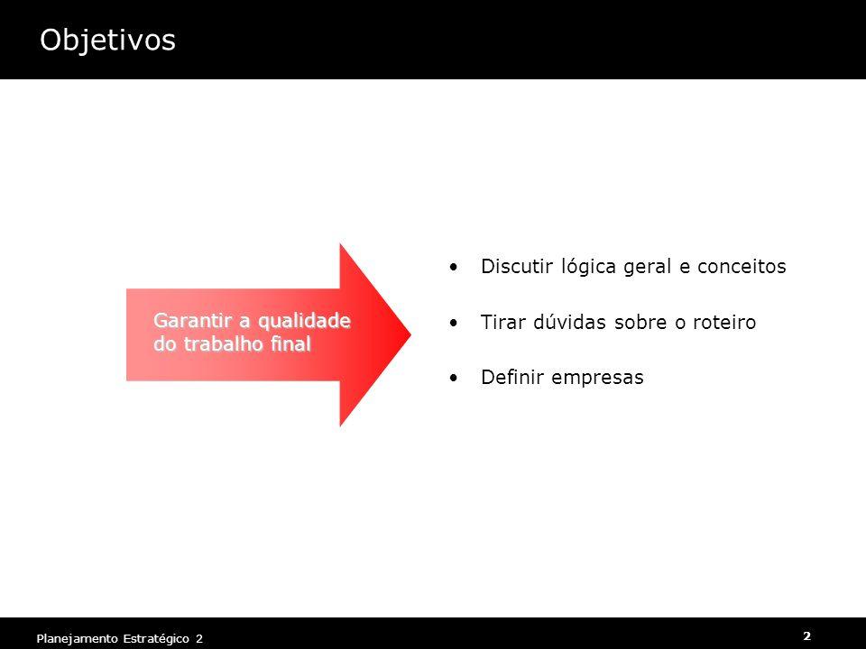Planejamento Estratégico 2 2 Objetivos Discutir lógica geral e conceitos Tirar dúvidas sobre o roteiro Definir empresas Garantir a qualidade do trabal
