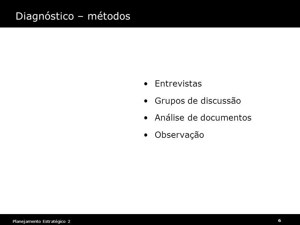 Planejamento Estratégico 2 6 Entrevistas Grupos de discussão Análise de documentos Observação Diagnóstico – métodos
