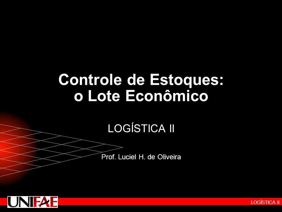 LOGÍSTICA II Controle de Estoques: o Lote Econômico LOGÍSTICA II Prof. Luciel H. de Oliveira