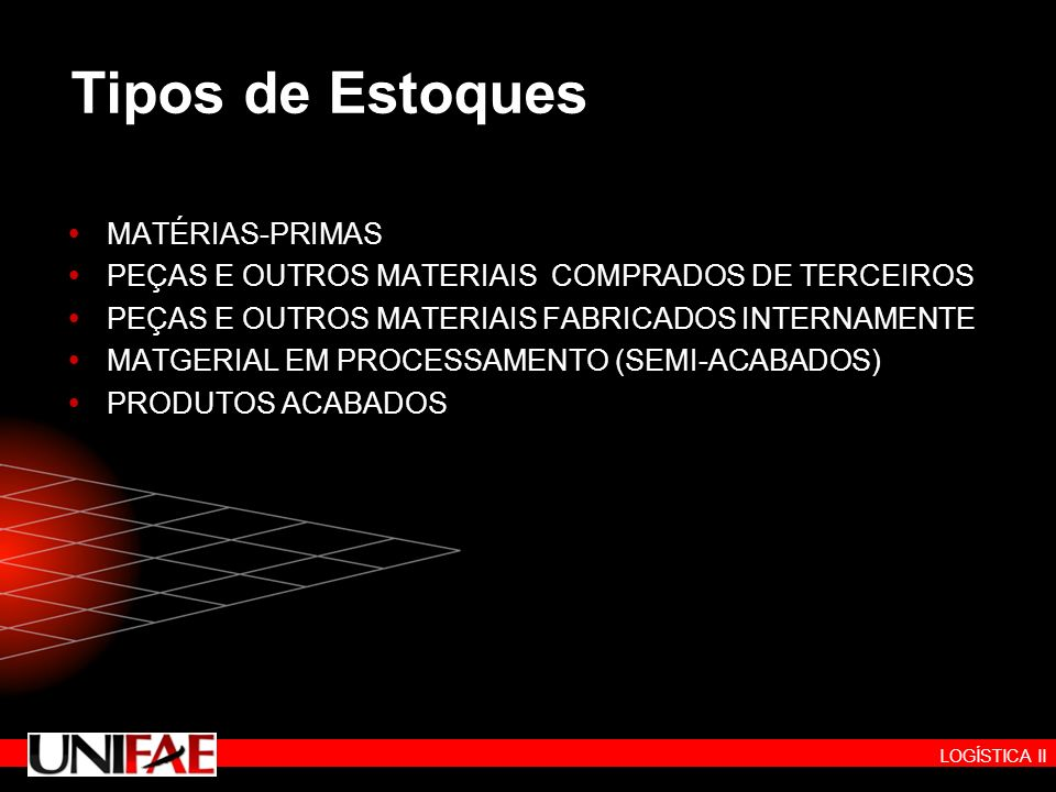LOGÍSTICA II Tipos de Estoques MATÉRIAS-PRIMAS PEÇAS E OUTROS MATERIAIS COMPRADOS DE TERCEIROS PEÇAS E OUTROS MATERIAIS FABRICADOS INTERNAMENTE MATGER