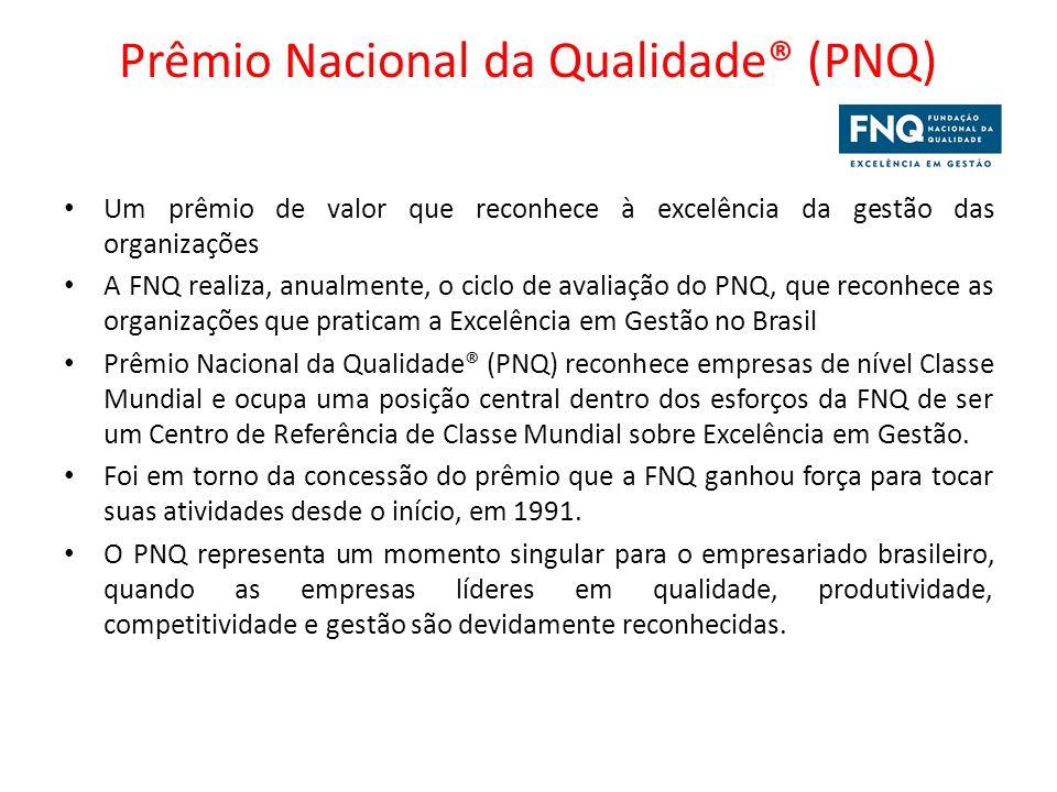 Prêmio Nacional da Qualidade® (PNQ) Um prêmio de valor que reconhece à excelência da gestão das organizações A FNQ realiza, anualmente, o ciclo de ava