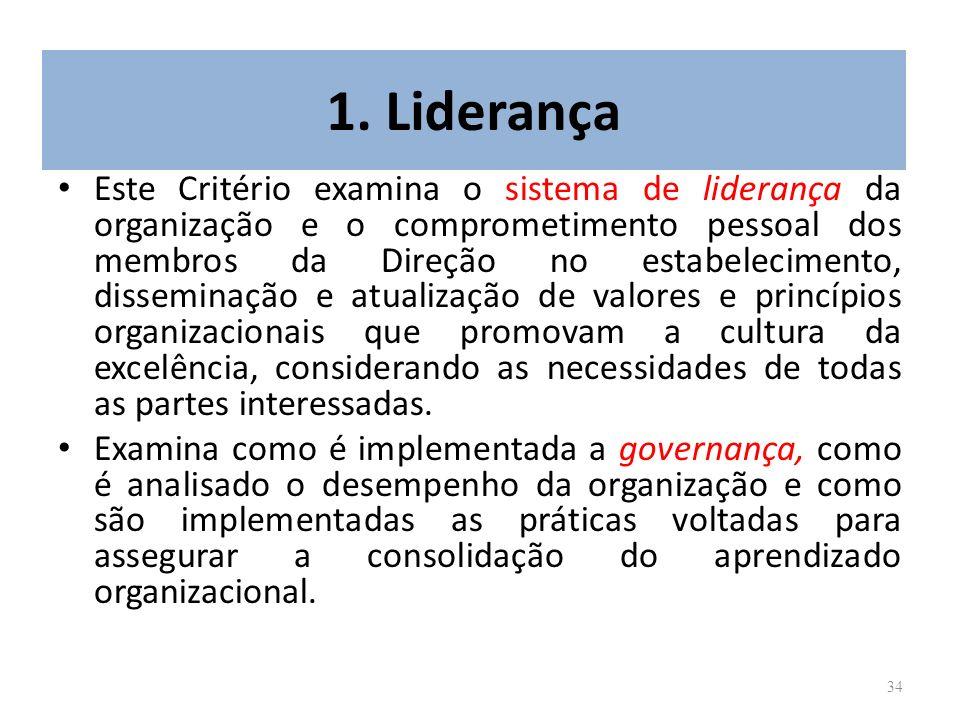 34 1. Liderança Este Critério examina o sistema de liderança da organização e o comprometimento pessoal dos membros da Direção no estabelecimento, dis