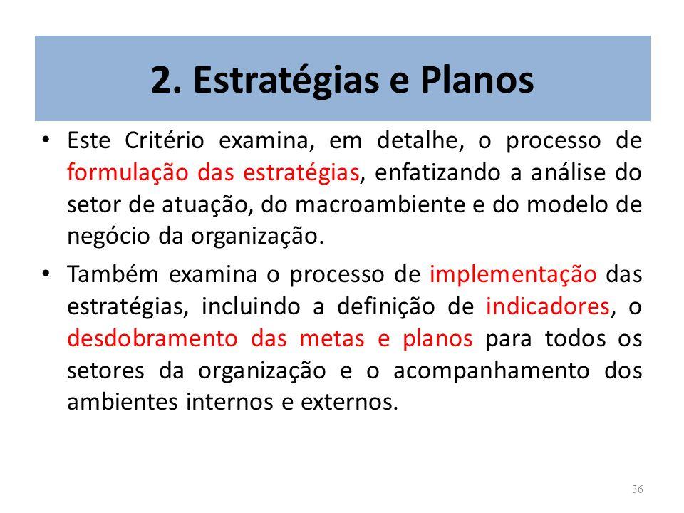 36 2. Estratégias e Planos Este Critério examina, em detalhe, o processo de formulação das estratégias, enfatizando a análise do setor de atuação, do