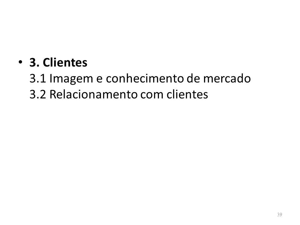 39 3. Clientes 3.1 Imagem e conhecimento de mercado 3.2 Relacionamento com clientes