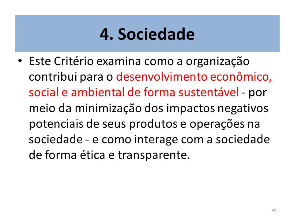 40 4. Sociedade Este Critério examina como a organização contribui para o desenvolvimento econômico, social e ambiental de forma sustentável - por mei