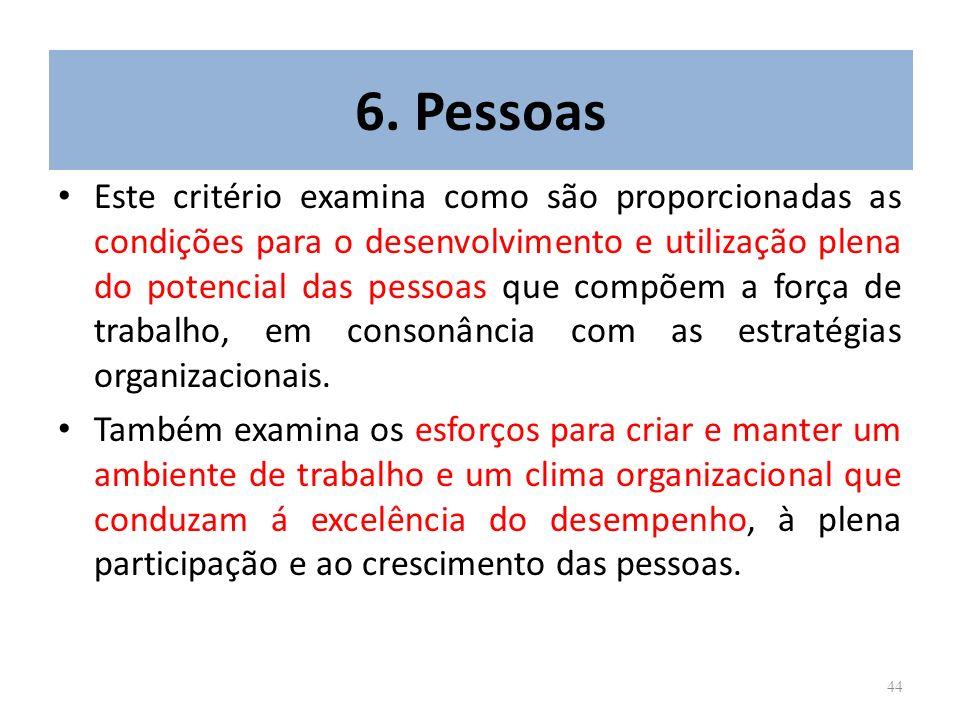 44 6. Pessoas Este critério examina como são proporcionadas as condições para o desenvolvimento e utilização plena do potencial das pessoas que compõe
