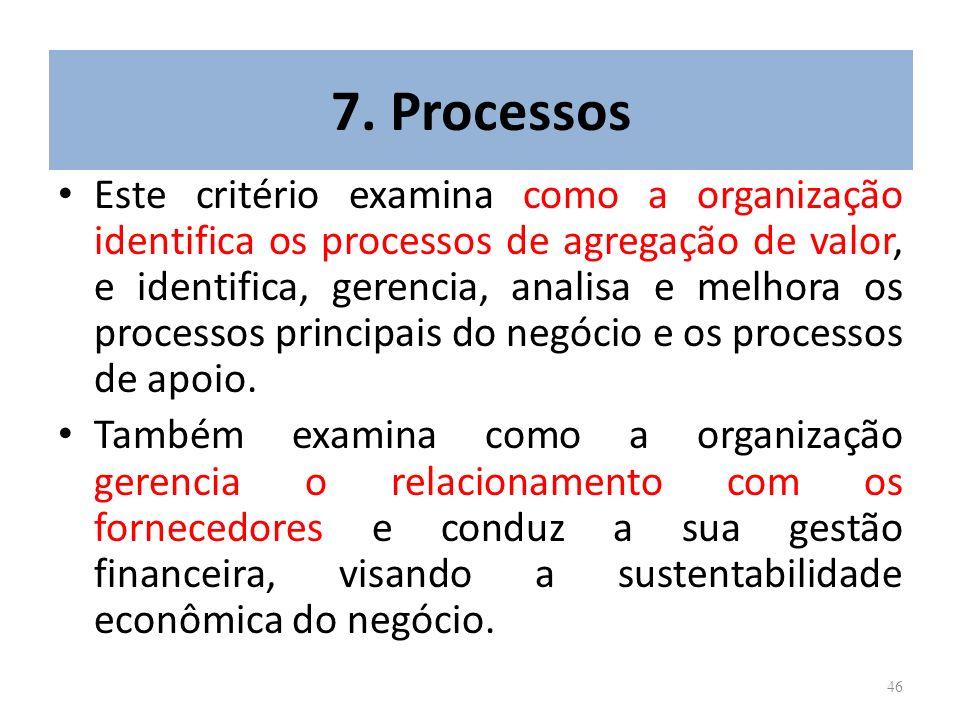 46 7. Processos Este critério examina como a organização identifica os processos de agregação de valor, e identifica, gerencia, analisa e melhora os p