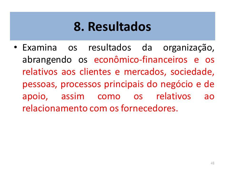 48 8. Resultados Examina os resultados da organização, abrangendo os econômico-financeiros e os relativos aos clientes e mercados, sociedade, pessoas,