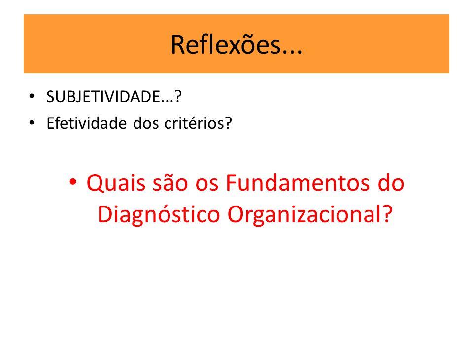 Reflexões... SUBJETIVIDADE...? Efetividade dos critérios? Quais são os Fundamentos do Diagnóstico Organizacional?