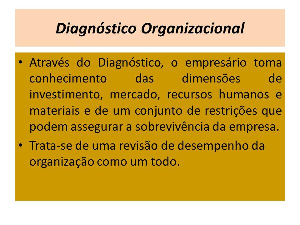 Através do Diagnóstico, o empresário toma conhecimento das dimensões de investimento, mercado, recursos humanos e materiais e de um conjunto de restri
