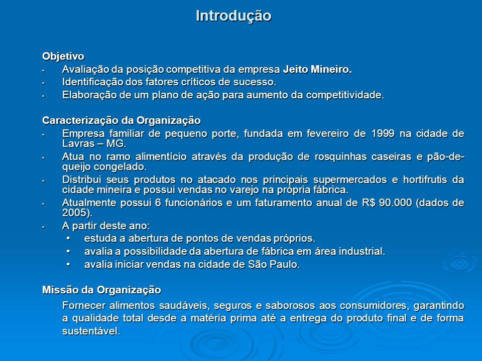 Objetivo Avaliação da posição competitiva da empresa Jeito Mineiro. Avaliação da posição competitiva da empresa Jeito Mineiro. Identificação dos fator