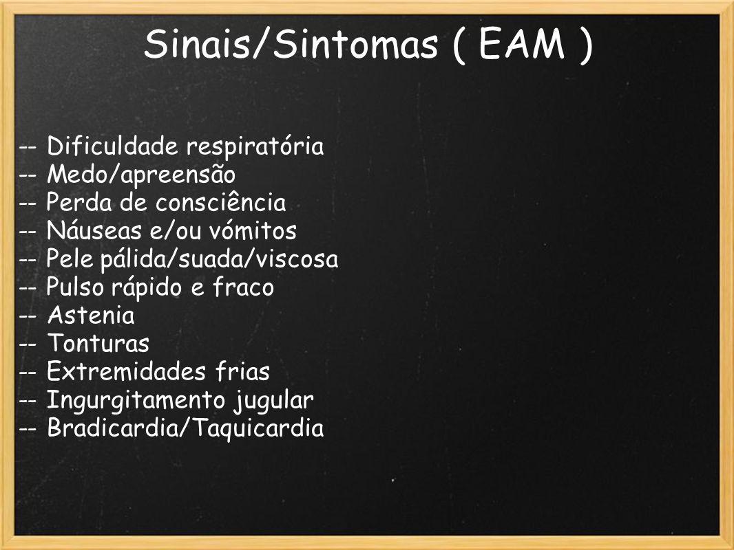 Sinais/Sintomas ( EAM ) -- Dificuldade respiratória -- Medo/apreensão -- Perda de consciência -- Náuseas e/ou vómitos -- Pele pálida/suada/viscosa --