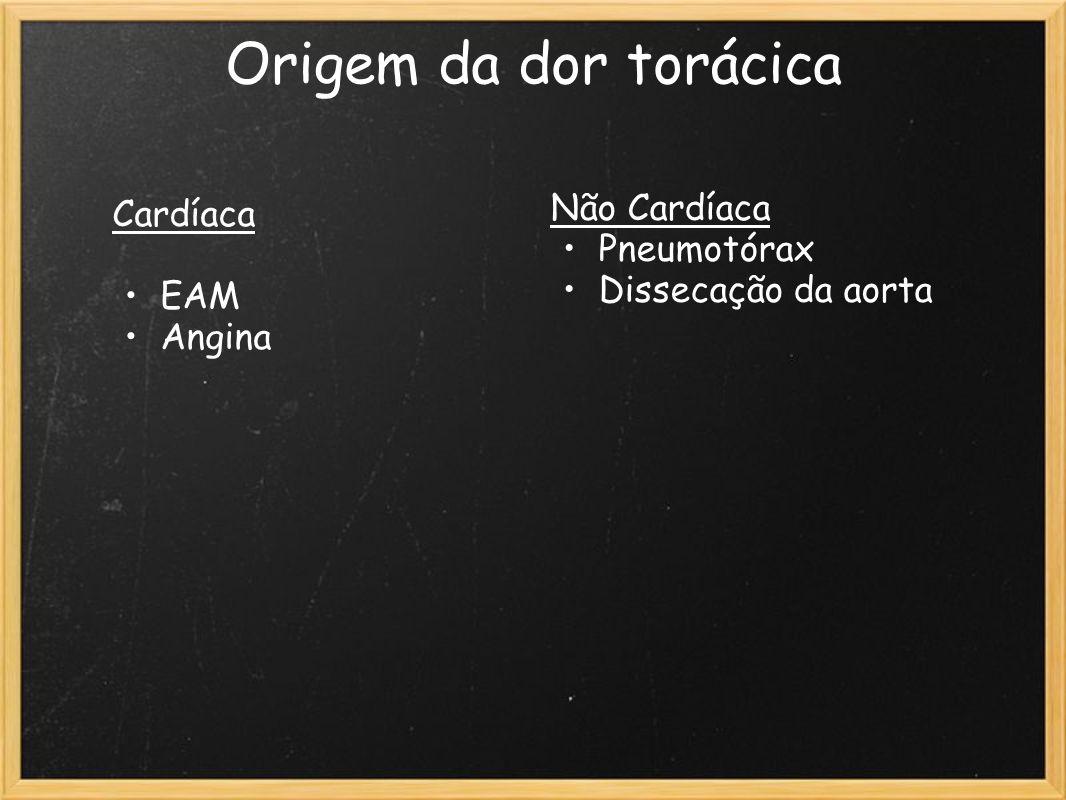Origem da dor torácica Cardíaca EAM Angina Não Cardíaca Pneumotórax Dissecação da aorta