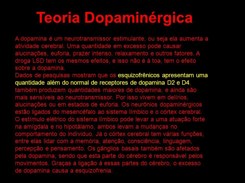 A dopamina é um neurotransmissor estimulante, ou seja ela aumenta a atividade cerebral. Uma quantidade em excesso pode causar alucinações, euforia, pr