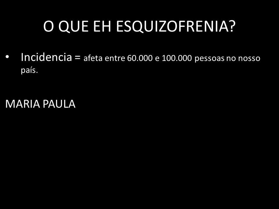 O QUE EH ESQUIZOFRENIA? Incidencia = afeta entre 60.000 e 100.000 pessoas no nosso país. MARIA PAULA