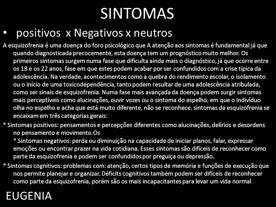 SINTOMAS positivos x Negativos x neutros A esquizofrenia é uma doença do foro psicológico que A atenção aos sintomas é fundamental já que quando diagn