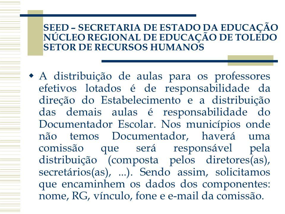 SEED – SECRETARIA DE ESTADO DA EDUCAÇÃO NÚCLEO REGIONAL DE EDUCAÇÃO DE TOLEDO SETOR DE RECURSOS HUMANOS A distribuição de aulas para os professores ef