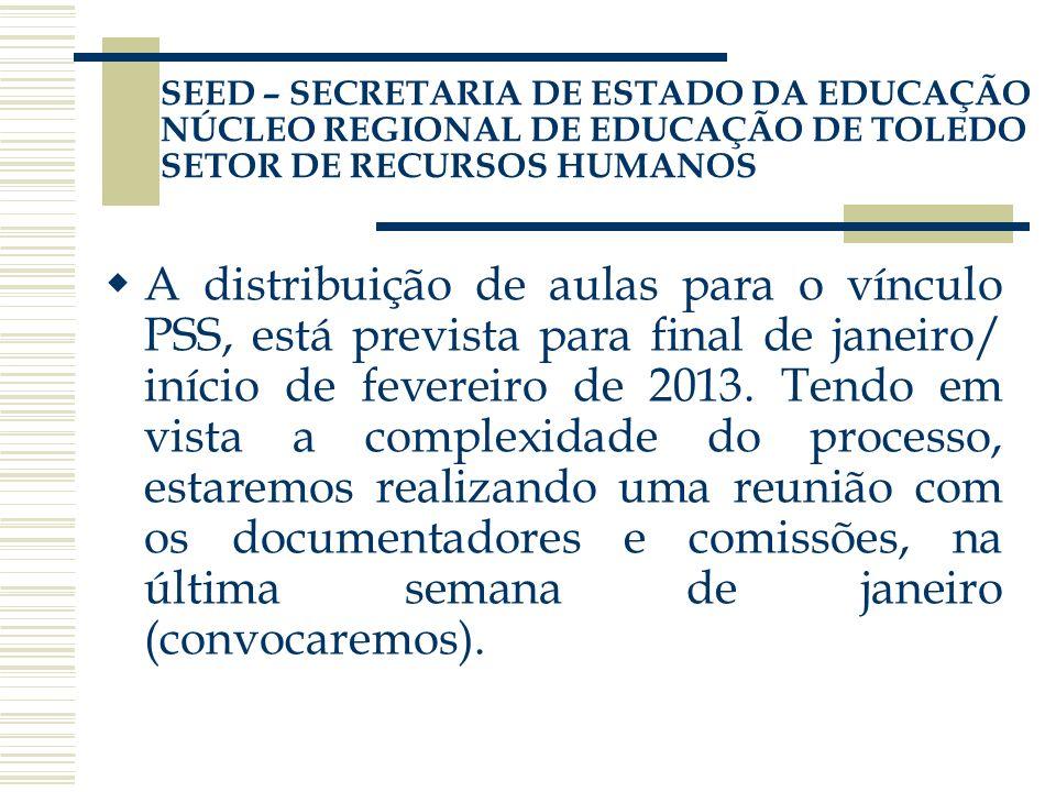 A distribuição de aulas para o vínculo PSS, está prevista para final de janeiro/ início de fevereiro de 2013. Tendo em vista a complexidade do process