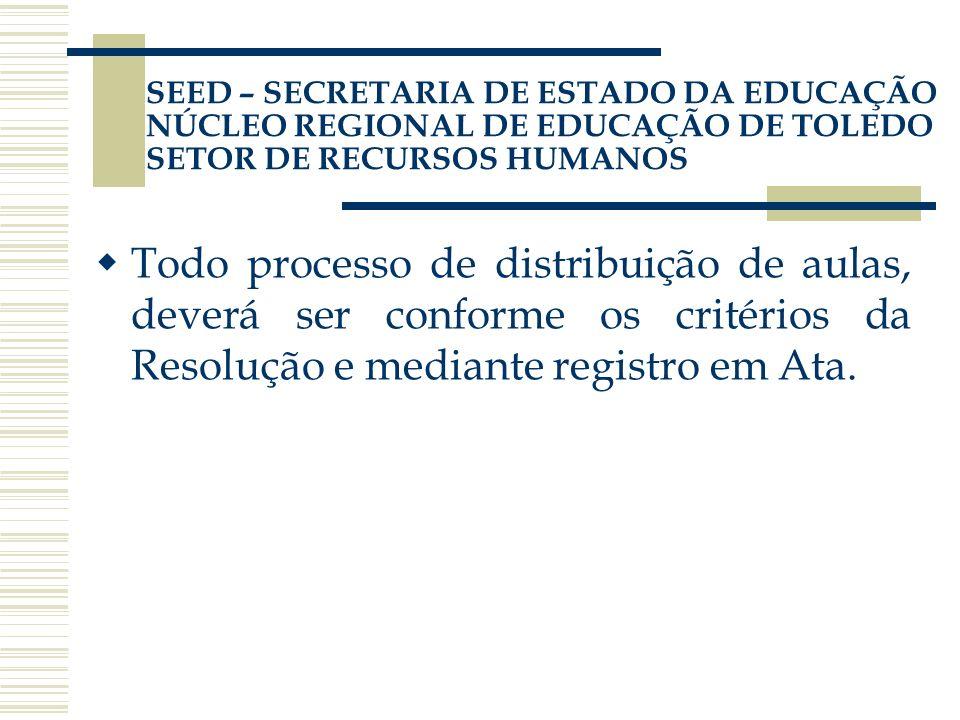 Todo processo de distribuição de aulas, deverá ser conforme os critérios da Resolução e mediante registro em Ata. SEED – SECRETARIA DE ESTADO DA EDUCA