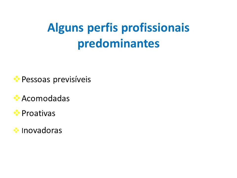 Alguns perfis profissionais predominantes Pessoas previsíveis Acomodadas Proativas I novadoras
