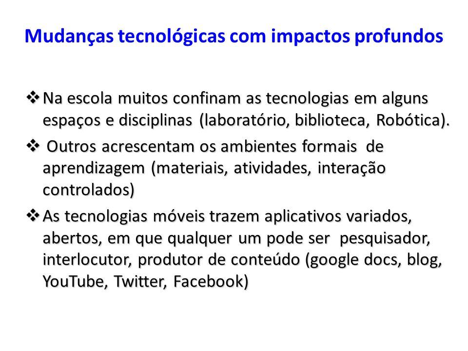 Mudanças tecnológicas com impactos profundos Na escola muitos confinam as tecnologias em alguns espaços e disciplinas (laboratório, biblioteca, Robóti