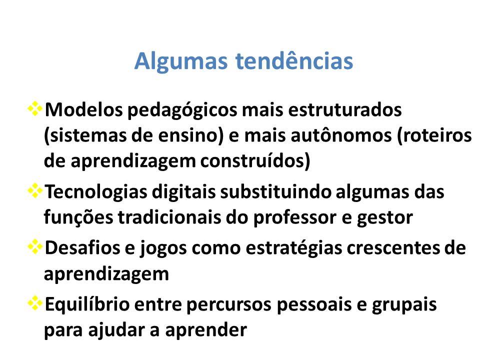 Algumas tendências Modelos pedagógicos mais estruturados (sistemas de ensino) e mais autônomos (roteiros de aprendizagem construídos) Tecnologias digi